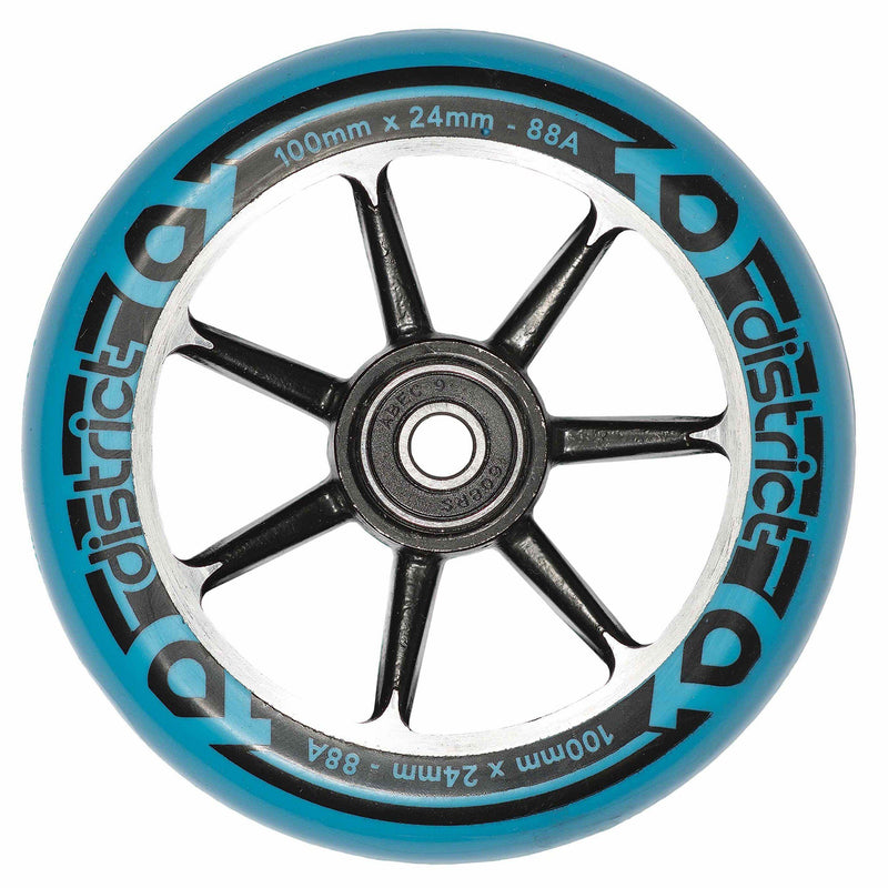 District Scooters Wheels Cast Alloy Core Twin Pack - 100mm Black/Blue Stunt Scooter District