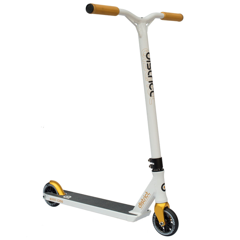 District Scooters C050 Complete Stunt Scooter, White/Gold Stunt Scooter District