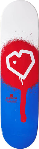Blueprint Spray Heart Skateboard Deck - Red/Blue/White