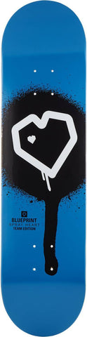 Blueprint Spray Heart Skateboard Deck - Blue, Black
