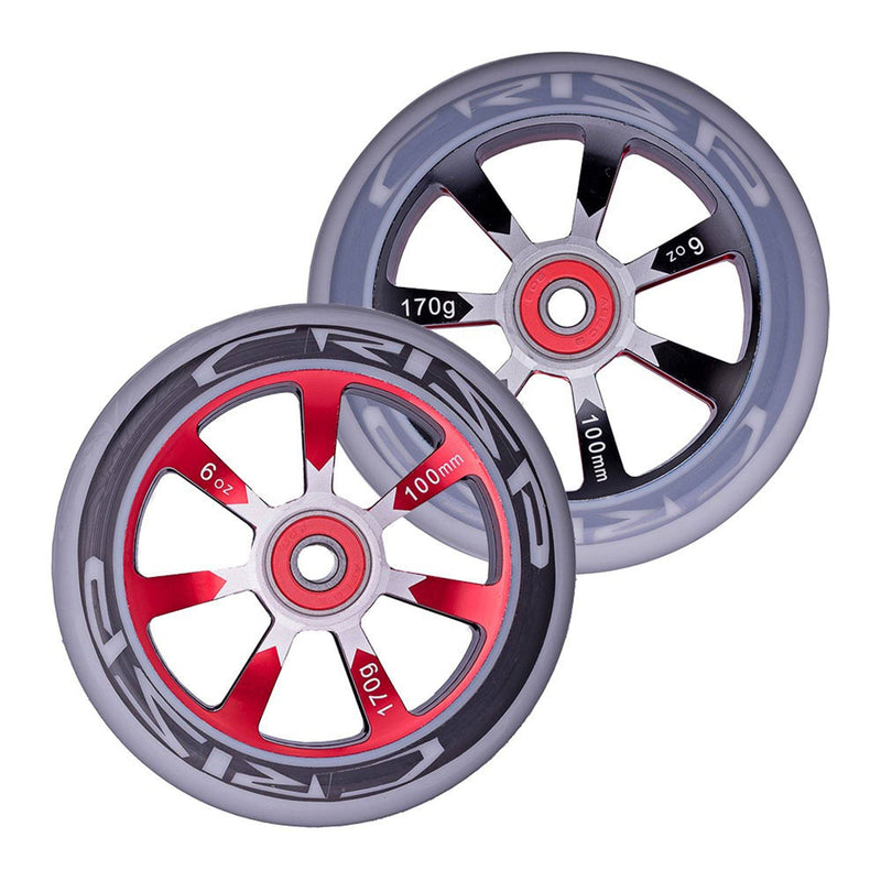 Crisp Scooters Hollowtech 100mm Stunt Scooter Wheels, Grey/Red Stunt Scooter Crisp