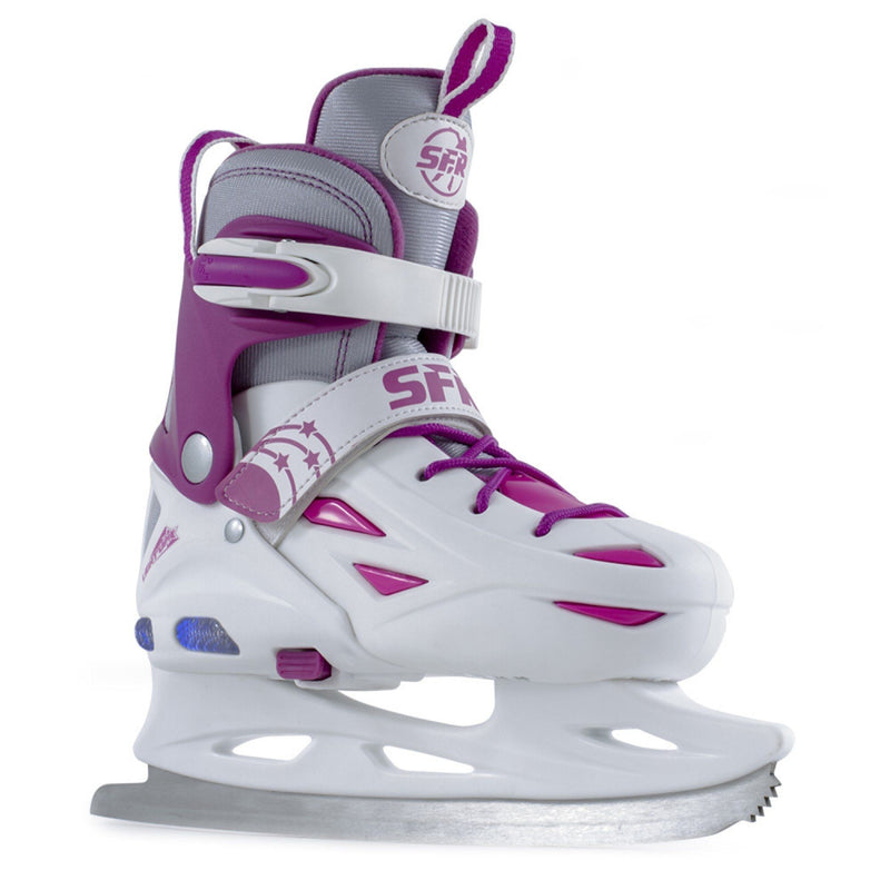 SFR Girls Ice Skates, Eclipse Light Up Skates, White/Pink Kids SFR Small (Junior UK 8 - Junior UK 11)
