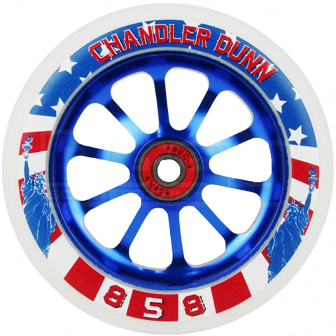 Ride 858 Scooters Chandler Dunn Stunt Scooter Wheels 120mm, Red/White/Blue