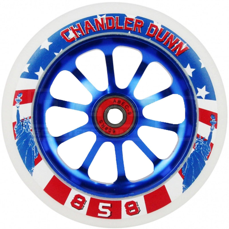 Ride 858 Scooters Chandler Dunn Stunt Scooter Wheels 120mm, Red/White/Blue Stunt Scooter Ride 858