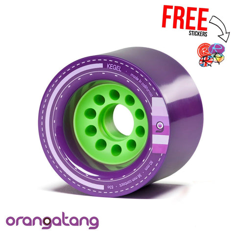 "Orangutang ""KEGEL"" 80mm 83a Longboard Wheels, Purple (x4)"
