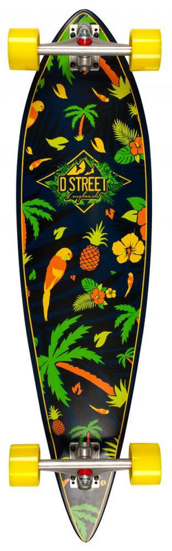 D-Street Longboards Pintail Tropical 38, Green Skateboard D-Street