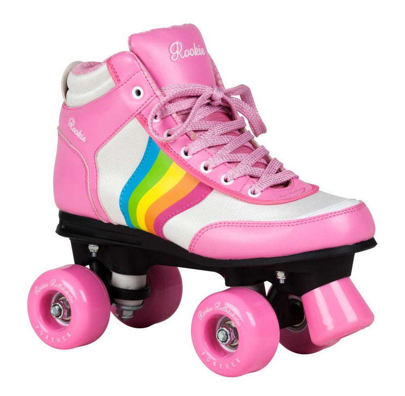 Rookie Quad Roller Skates Forever Rainbow V2 - Pink/Multi Kids Skates Rookie UK2/US3/EU34