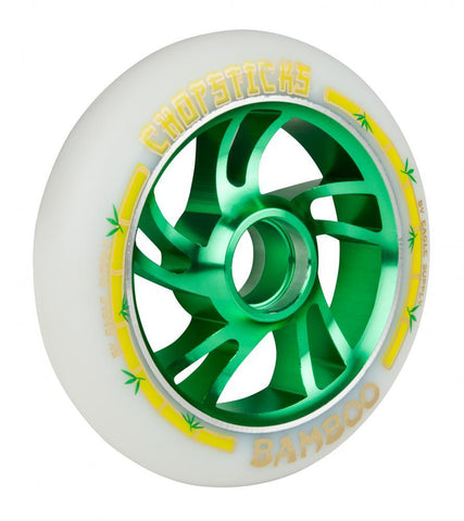 Chopsticks Bamboo Stunt Scooter Wheel White/Green 110mm