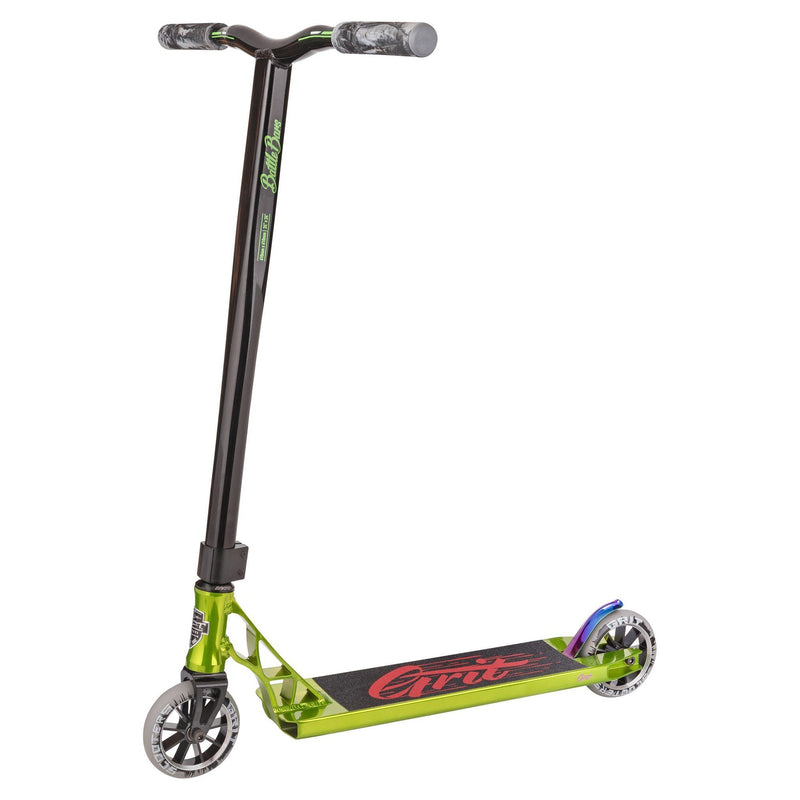 Grit Scooters 2018 Tremor Complete Stunt Scooter, Polished/Green/Black Stunt Scooter Grit