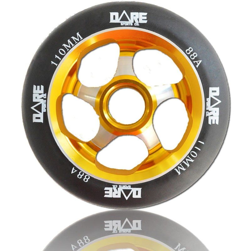 Dare Sports Swift Scooter Wheel 110mm, Black/Gold Stunt Scooter Dare