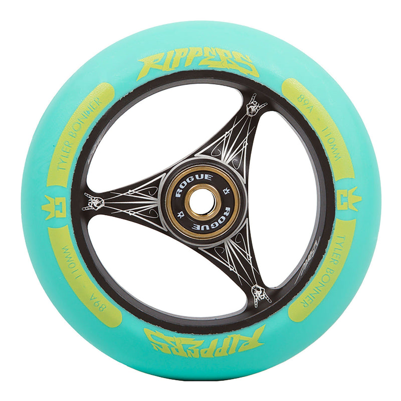 ROGUE TBone Ripper Scooter Wheels (PAIR), Black/Aqua Stunt Scooter Rogue