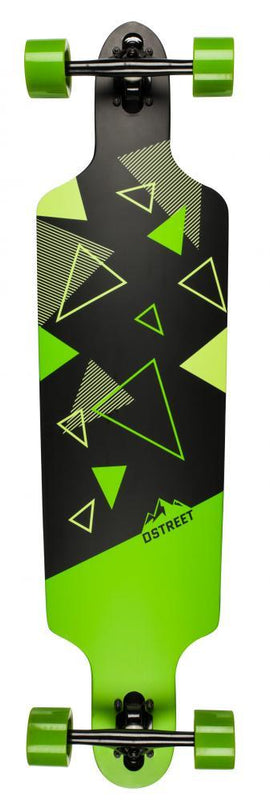 D-Street Longboards Polygon Tri Drop Through, Green Skateboard D-Street