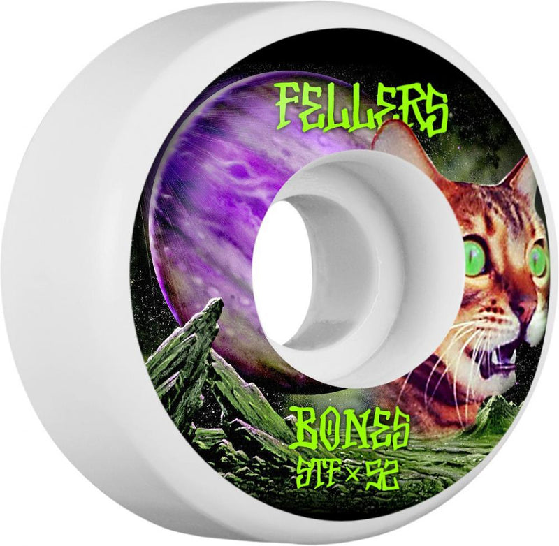 Bones Skateboard Wheels 52mm Wheel, STF Fellers Galaxy Cat V3 Skateboard Wheels Bones