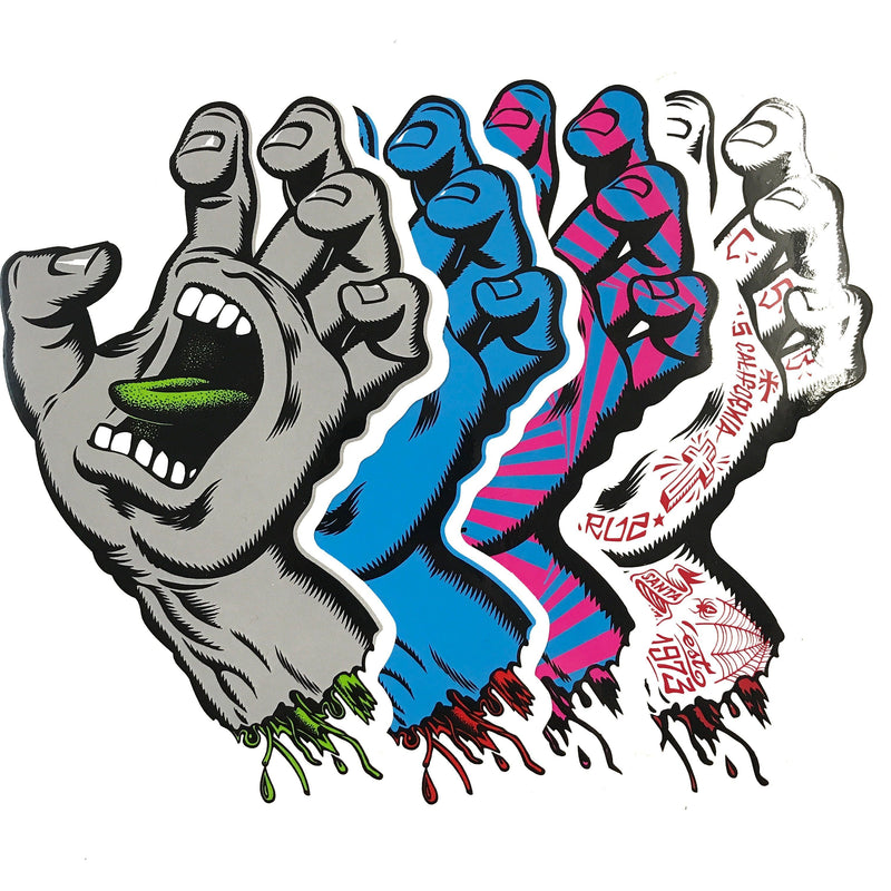 "Santa Cruz 6"" sticker - screaming hand Accessories Santa Cruz"