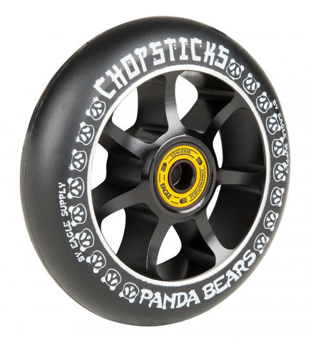 Chopsticks Scooters 100mm Scooter Wheel, Panda Bears - Black/Black