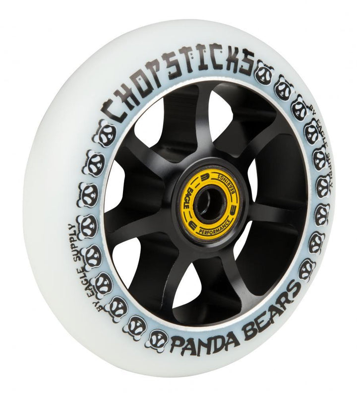 Chopsticks Scooters 100mm Scooter Wheel, Panda Bears - White/Black Scooter Wheels Chopsticks