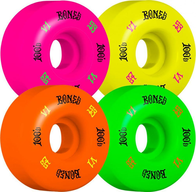 Bones Skateboard Wheels 53mm Wheels, 100's Party Pack #4 V1 - Grn/Purp/Yel/Org Skateboard Wheels Bones