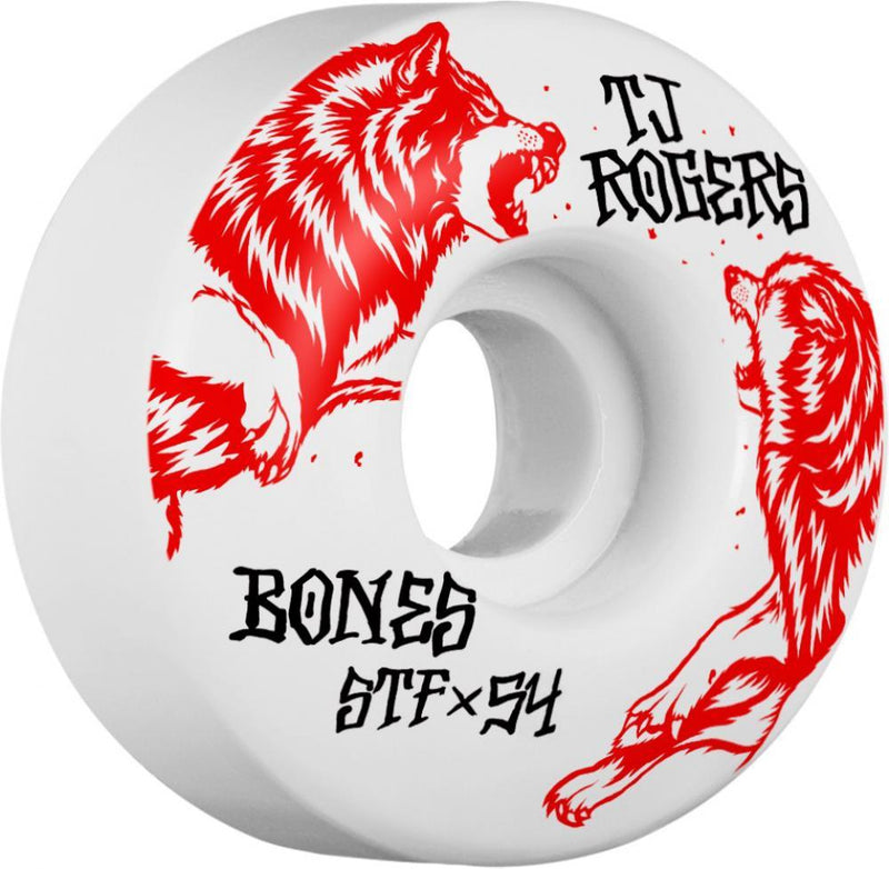 Bones Skateboard Wheels 54mm Wheels, STF Rogers Survival V3 Skateboard Wheels Bones