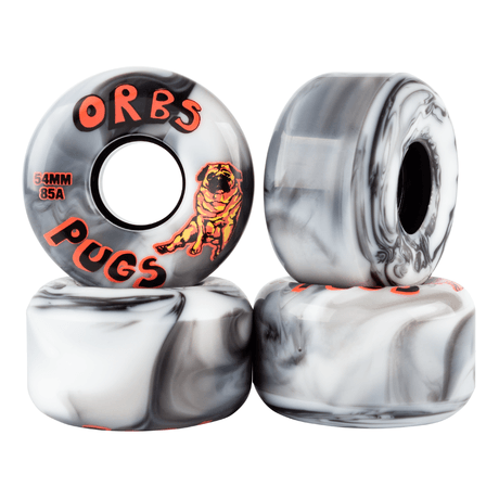Orbs Pugs Conical 85A 54mm Skateboard Wheels, Black/White Split