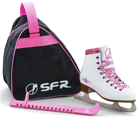 SFR Ice Skate Junior Skate Pack, White/Pink - Variable Size