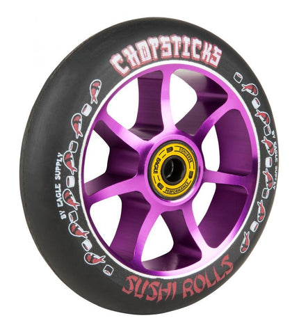 Chopstick Sushi Roll Stunt Scooter Wheel Black/Purple 110mm