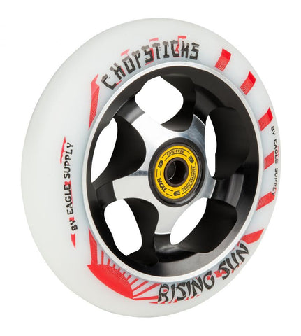 Chopsticks Scooters 110mm Scooter Wheel, Rising Sun - White/Black