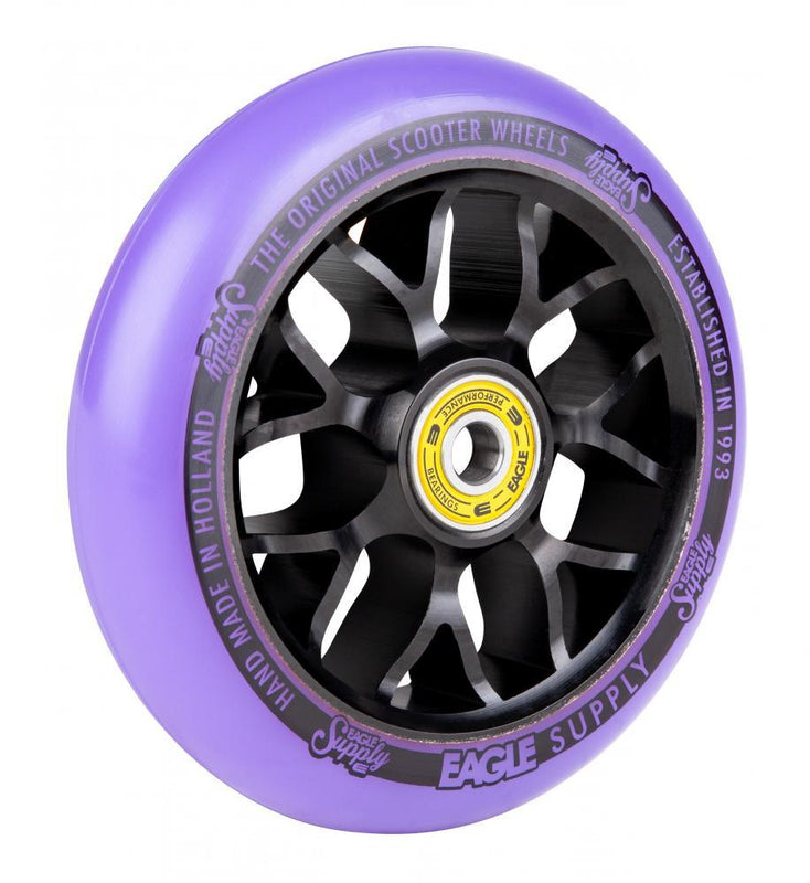 Eagle Supply 110mm Pro Stunt Scooter Wheel, Standard X6 Core - Black/Purple Scooter Wheels Eagle Supply Co