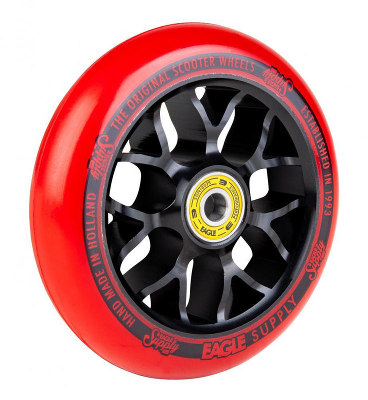 Eagle Supply 110mm Pro Stunt Scooter Wheel, Standard X6 Core - Black/Red Scooter Wheels Eagle Supply Co