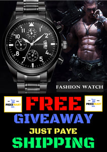 Creative Fashion Men Watch Three-eyes Decorated Black Stainless Steel Waterproof Calendar Men Business Watch Relogio masculino
