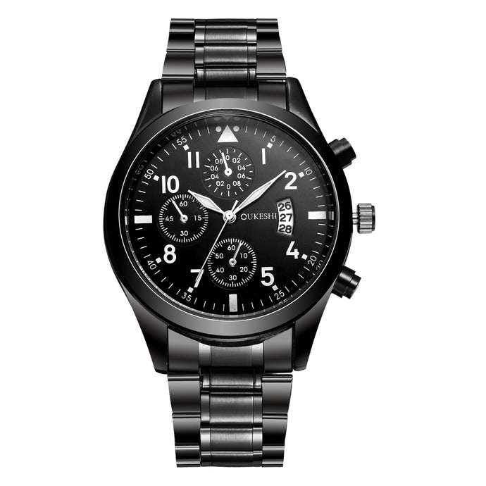 OUKESHI Stainless Steel Quartz Men Watch Top Brand Luxury Calendar Wristwatch Fashion Casual Boutique Black Watches Relojes 2017
