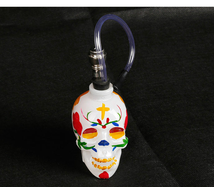 Smoke Pipe Glass Bong Water Pipe Hookah Shisha Colorful Skull Head Pipe with Tube Tobacco Holder Filter Narguile Drop Shipping