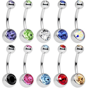 Stainless Steel Assorted Colors Belly Button Ring-Price Mart USA