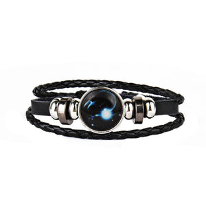 12 Constellations Faux Leather Bracelet Unisex's Braided Bangle-Price Mart USA