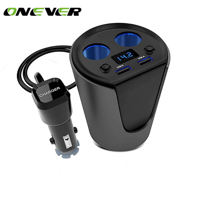 Onever Car Cigarettes lighter 12-24V 3.1A Dual USB Car Charger Adaptor With Voltage Current Display Car Power Adapter lighter