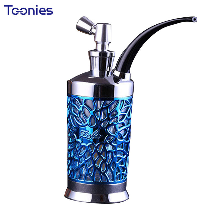 Vintage Hollow Out Astigmatism Hookah Hose Lights & Smoking Pipe Accessories Relief Double Metal Dual-use Narguile Bong Smoker