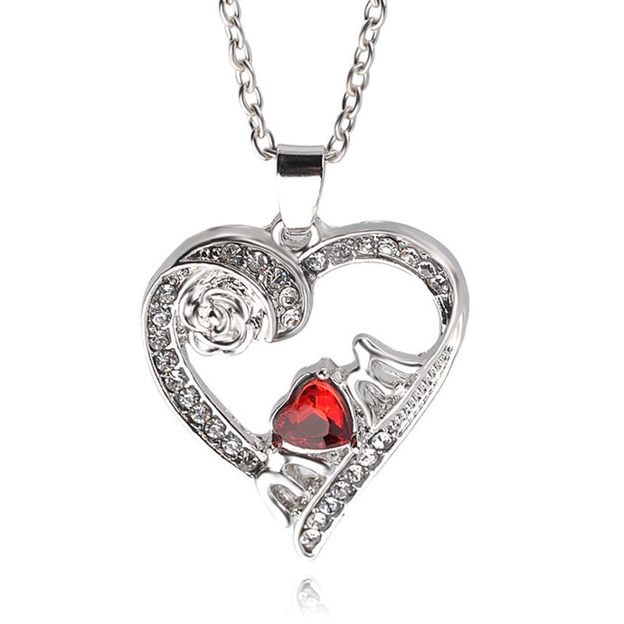 Fashion Love Jewelry Necklace White Crystal Rose Heart Pendant Statement