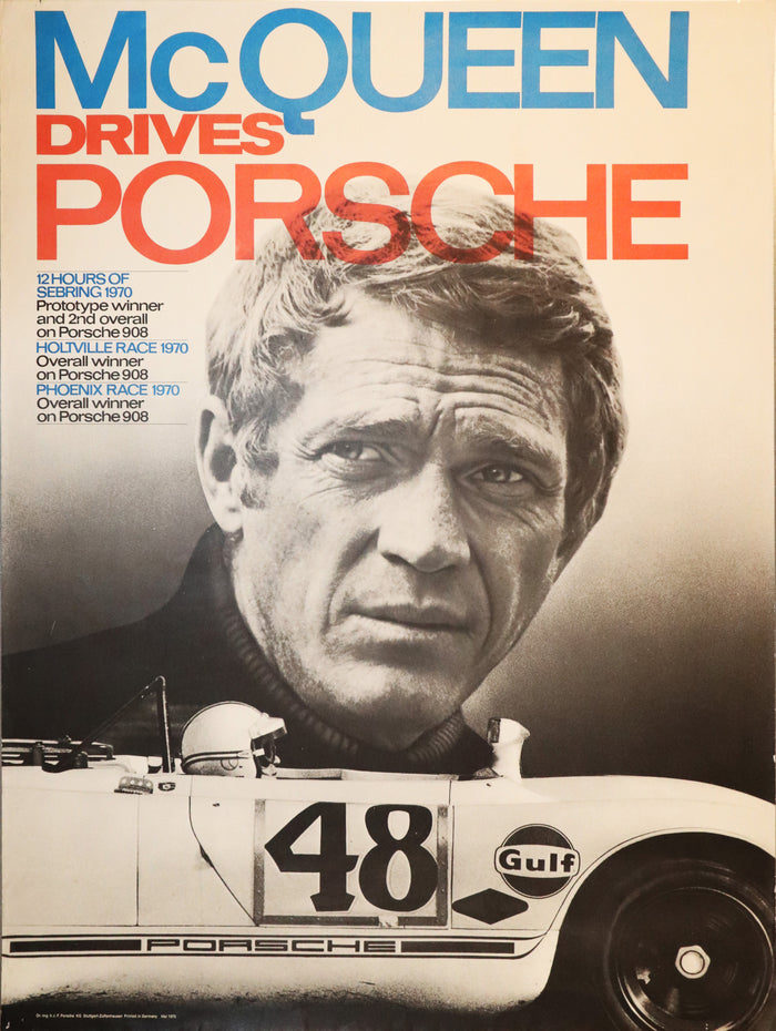 "Poster ""Mc Queen Drives Porsche"" von 1970"