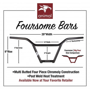 "Animal Foursome 9,5"" Lenker / Handlebars Black"