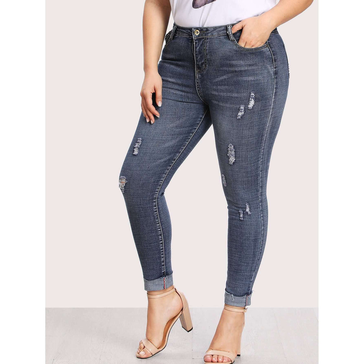 CLOCHE Folded Carbon Denim Pants-CLOCHE-CLOCHE