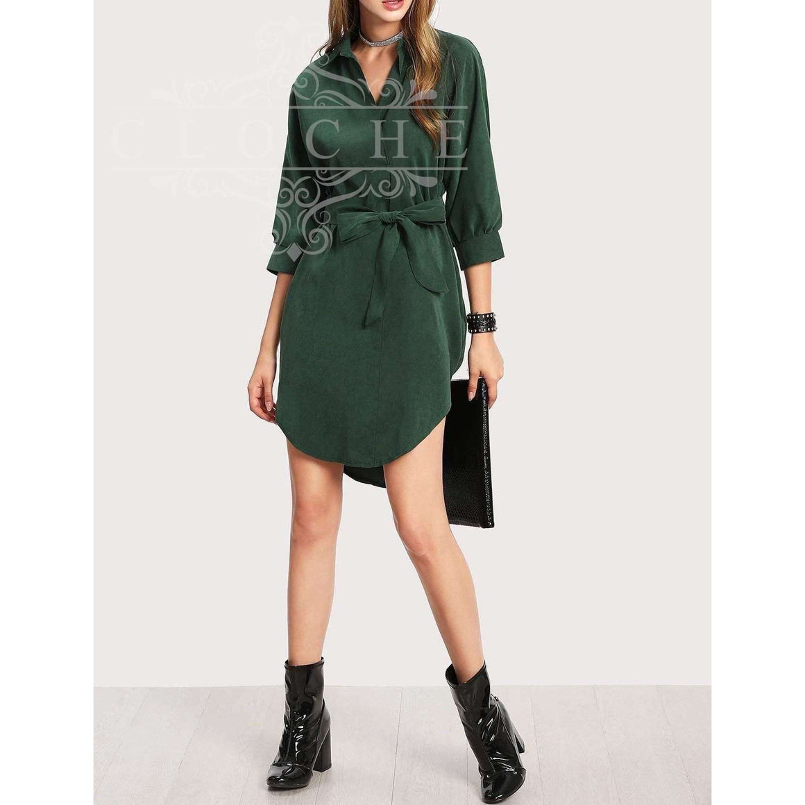 CLOCHE Green Fields High Low Shirt Dress-CLOCHE-CLOCHE
