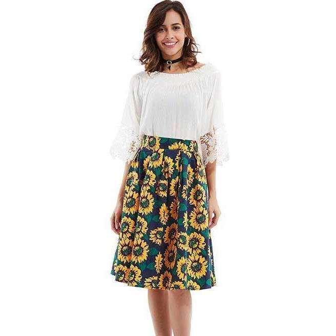 CLOCHE Sunshine Sunflower Skirt-CLOCHE-CLOCHE