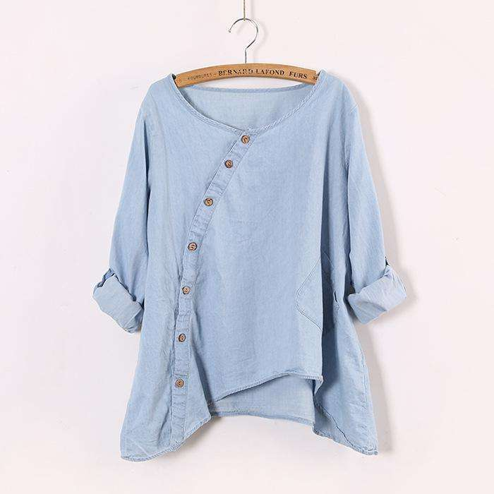 CLOCHE Slant Oblique Button Irregular Full Sleeve Blouse Shirt-CLOCHE-ONE-CLOCHE