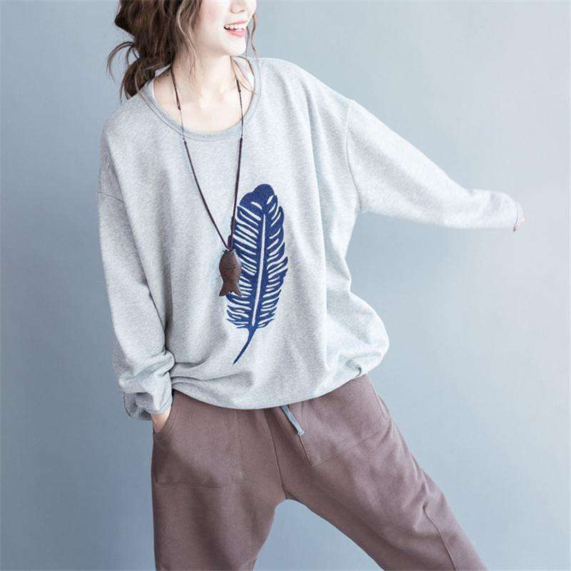 CLOCHE Embroidery Feather O-Neck Long Sleeve Sweatshirt-CLOCHE-CLOCHE