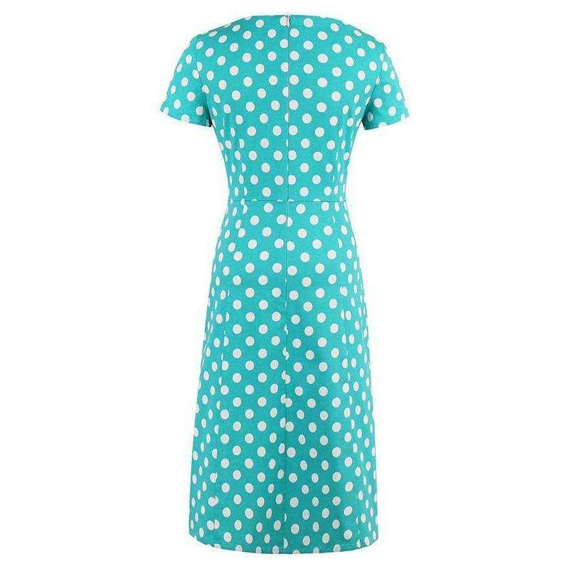 CLOCHE Blue Polka Retro Dress-CLOCHE-CLOCHE