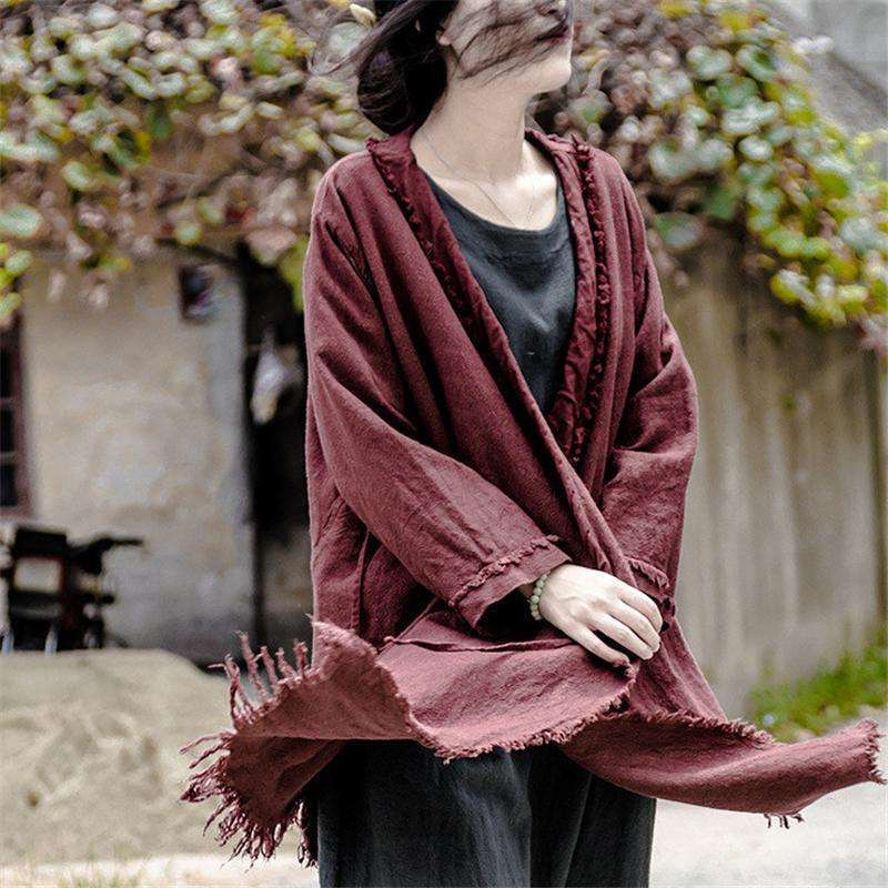 CLOCHE Irregular Cotton Linen Drawstring Kimono Jacket-CLOCHE-ONE-CLOCHE