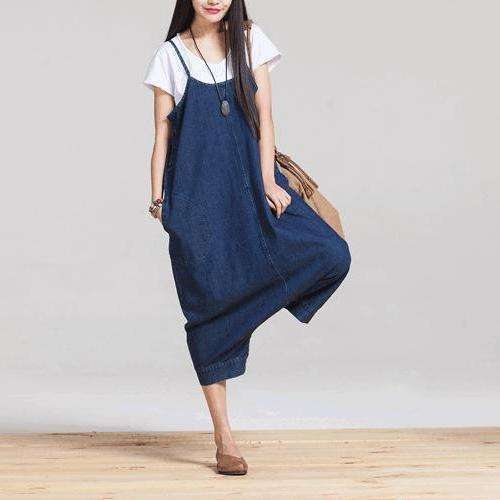 CLOCHE Blue Korean Cute Denim Jumpsuit-CLOCHE-Blue-S-CLOCHE