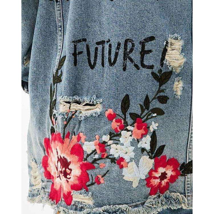 CLOCHE Embroidery Denim Jacket Ripped Coats-CLOCHE-CLOCHE