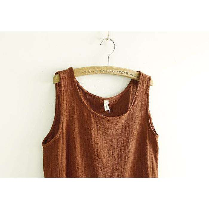 CLOCHE Sleeveless Linen Cotton Tanks O-Neck Top-CLOCHE-CLOCHE