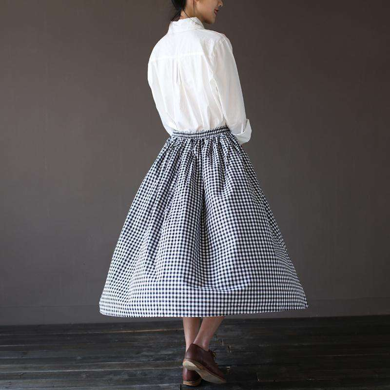 CLOCHE Plaid Vintage Pleated Autumn Long Skirt-CLOCHE-ONE-CLOCHE