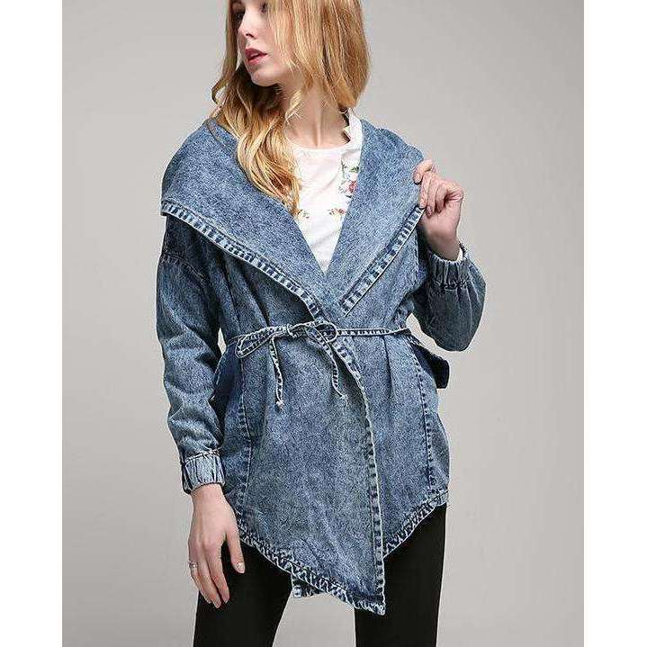 CLOCHE Hooded Lace Denim Cardigan Coats-CLOCHE-ONE-CLOCHE